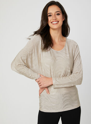 Jacquard Dolman Sleeve Top, Gold, hi-res