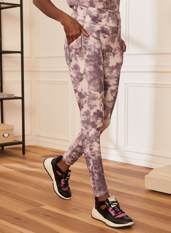Tie-Dye Print Leggings, Purple
