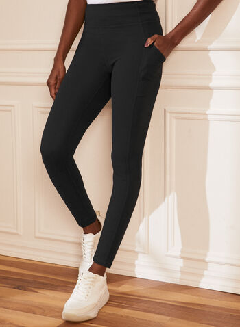 Legging à enfiler, Noir,  legging, à enfiler, pull-on, poches, extensible, printemps été 2021