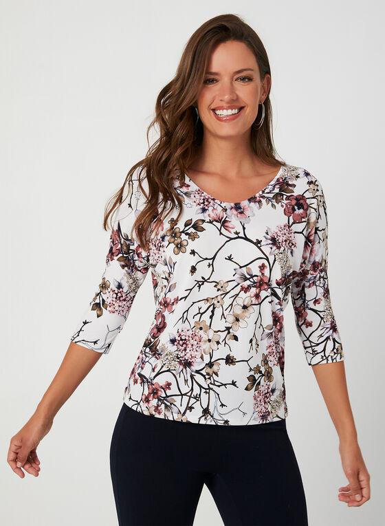 Haut en jersey à imprimé floral oriental, Blanc