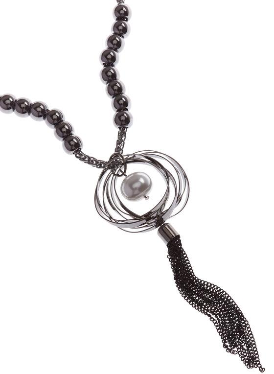 Collier sautoir avec chaînons en pompon et perles, Gris, hi-res