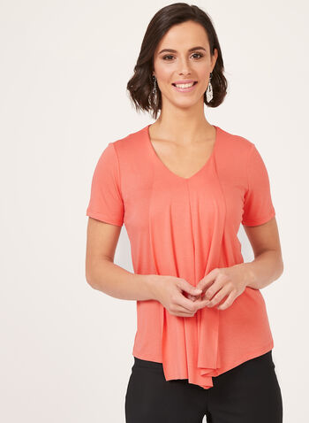 Asymmetric Short Sleeve Blouse, Orange, hi-res