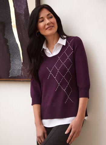 Pull illusion à détails contrastants, Violet,  pull, illusion, col chemisier, contrastant, tricot, automne hiver 2020