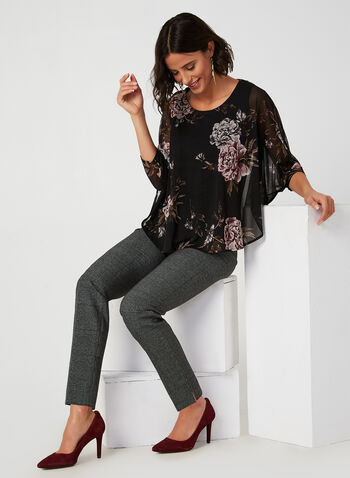 Floral Print Poncho Blouse, Black, hi-res,  canada, 3/4 sleeves, chiffon, floral print, blouse, poncho, poncho blouse, see through, scoop neck, fall 2019, winter 2019