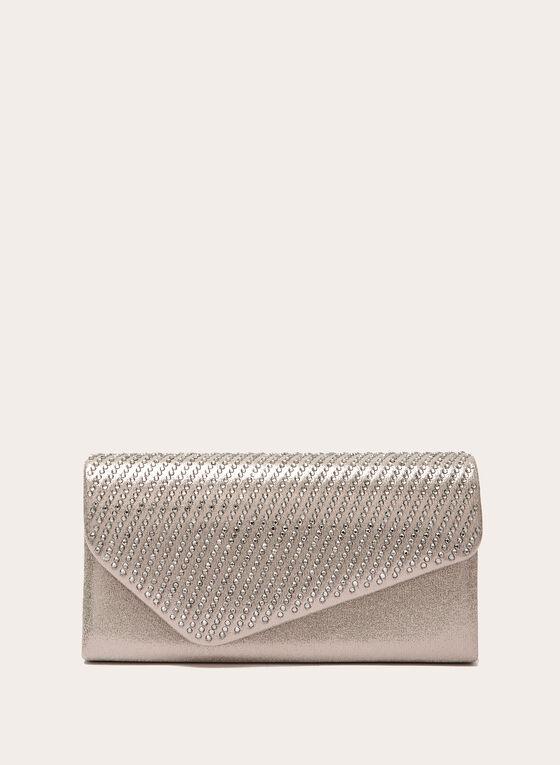 Pochette métallisée à rabat asymétrique et cristaux, Blanc cassé, hi-res