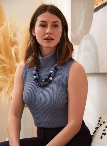 Sleeveless Turtleneck Top, Blue,  fall winter 2021, no sleeves, basics, essentials, turtleneck, rolled neck, mock neck, knit, striped, cord knit,