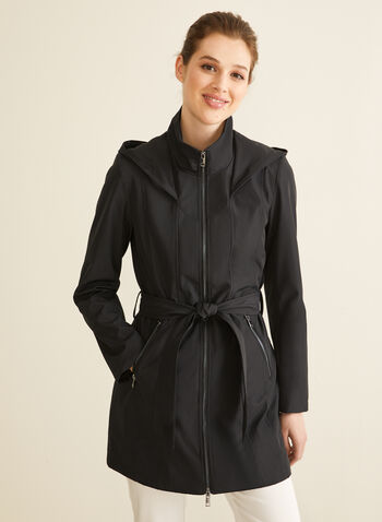 Novelti - Hooded Belt Coat, Black,  spring summer 2020, Novelti, hood, water-resistant