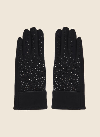 Studded Gloves, Black,  fall winter 2020, gloves, rhinestone, lapel, cuff, stud detail, folded cuff, knit