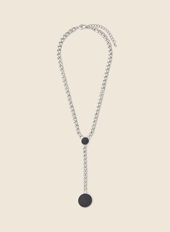 Collier à pendentif circulaire, Noir,  automne hiver 2020, collier, bijou, accessoire, pendentif, cercle, rond, chaîne