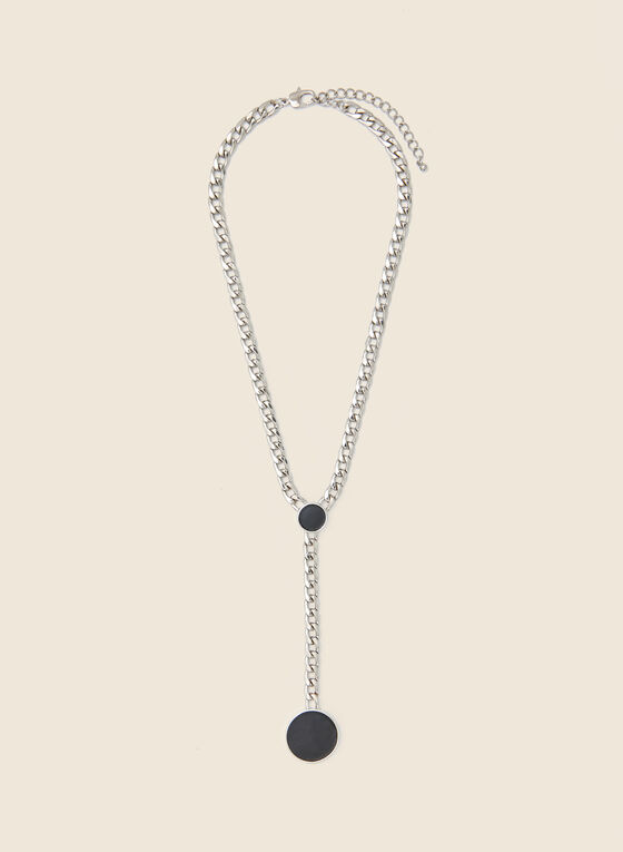Collier à pendentif circulaire, Noir