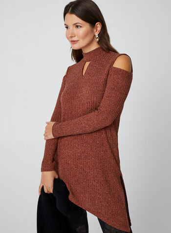 Cold Shoulder Mock Neck Top, Red, hi-res,  Canada, rib knit, cold shoulder, long sleeves, asymmetrical, mock neck, keyhole, tunic, fall 2019, winter 2019