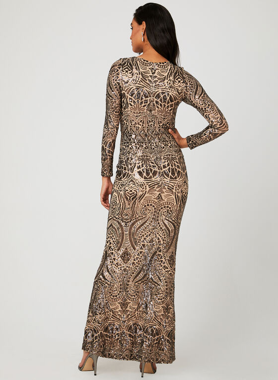 Sequin Mesh Dress, Brown, hi-res