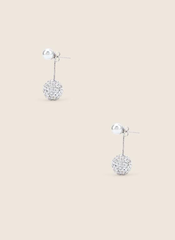 Boucles d'oreilles à pendant sphère facettée, Argent