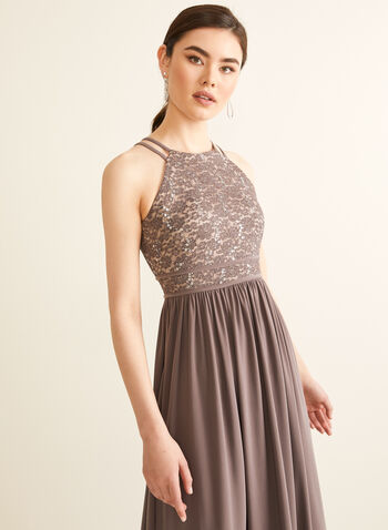 Sequin & Glitter Lace Dress, Brown,  spring summer 2020, sleeveless, halter neck, sequin, glitter, lace, jersey fabric