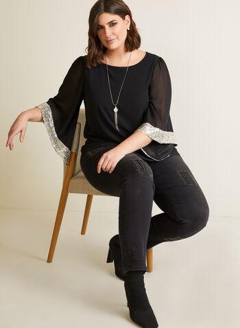 Joseph Ribkoff - Embellished Kimino Sleeve Blouse, Black,  top, blouse, kimono, sequin, chiffon, fall winter 2020