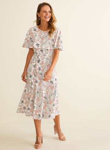Perceptions - Floral Print Capelet Dress, Pink,  dress, day dress, floral, textured, jersey, capelet, round neck, fit & flare, sash, spring summer 2020