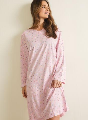 Robe de nuit à motif confettis, Multi,  pyjama, confetti, vêtements de nuit, robe de nuit, motif, manches longues, encolure en V, automne hiver 2020