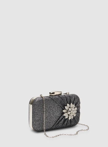 Crystal Flower Box Clutch, Grey,  clutch, box clutch, glitter, crystal, flower, fall 2019, winter 2019