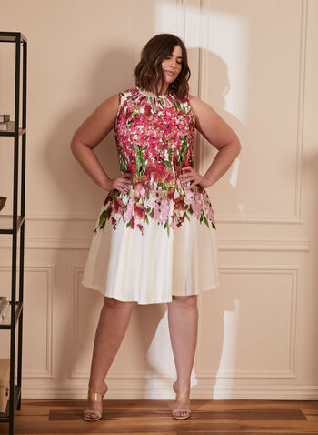 Floral Print Dress, White,  spring summer 2021, dresses, flowers, flowery, cut out, no sleeves, crew neck, pleats, print