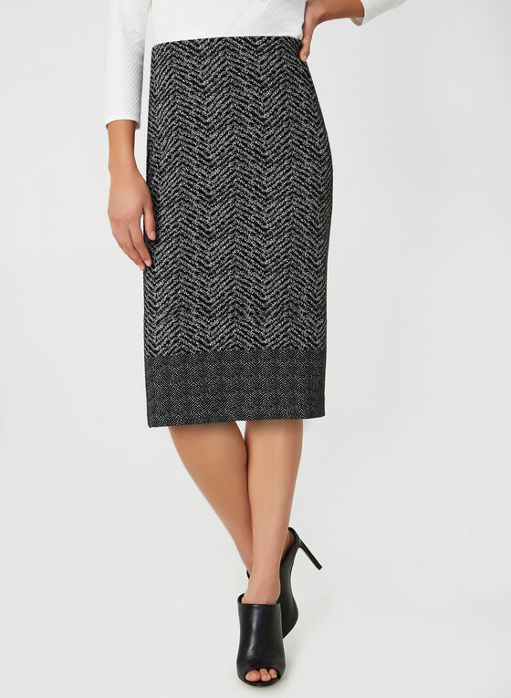 Chevron Print Skirt, Black