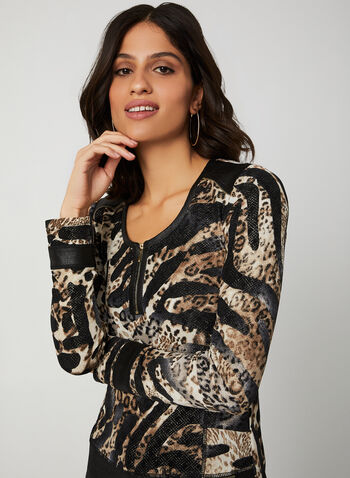 Vex - Animal Print Long Sleeve Top, Brown, hi-res,  top, animal print, knit, long sleeves, scoop neck, faux leather trims, fall 2019