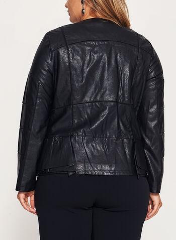 Blazer péplum zippé en similicuir, Noir, hi-res