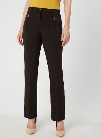 Pantalon coupe signature à jambe droite, Brun, hi-res,  taille haute, hanches courbées, zip, bouton, fausses poches, automne hiver 2019