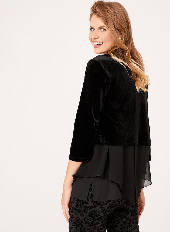 Veste courte en velours à manches cloche, Noir, hi-res