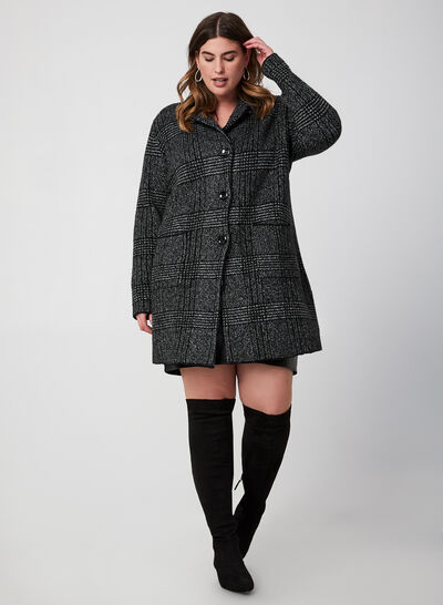 Plaid Print Sweater Coat