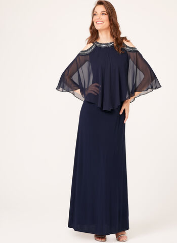 Embellished Cold Shoulder Poncho Gown, , hi-res