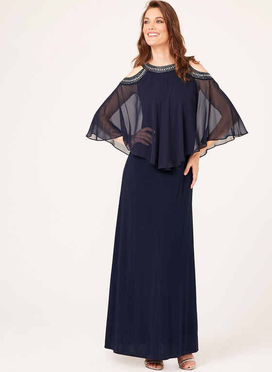 Embellished Cold Shoulder Poncho Gown, Blue, hi-res