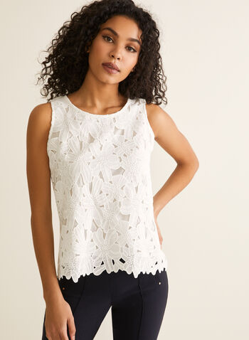 Sleeveless Floral Lace Top, Off White,  top, sleeveless, scoop neck, lace, floral, layered, spring summer 2020