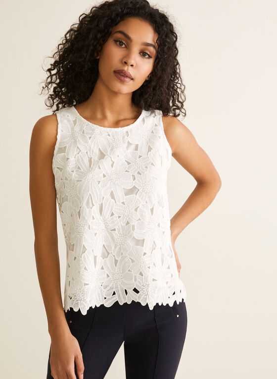 Sleeveless Floral Lace Top, Off White