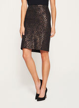 Animal Print Pencil Skirt, Black, hi-res