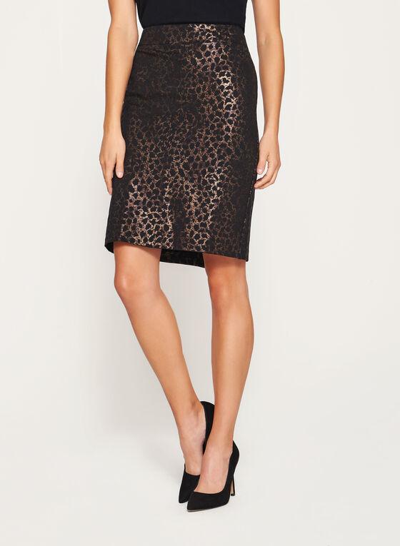 Animal Print Pencil Skirt, Black, hi-res