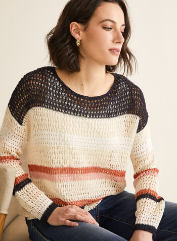 Knit Sweater With Tank, Blue,  sweater, knit, crochet, boat neck, striped, colour blocks, jersey, tank top, combo, set, long sleeves, spring summer 2020