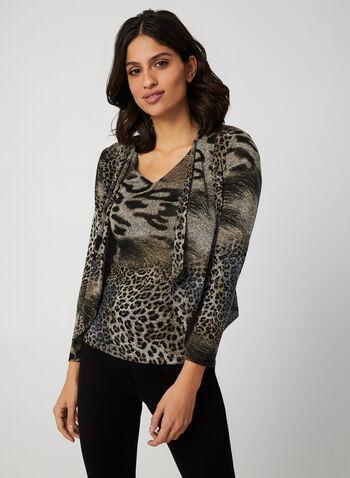 Vex - Animal Print Sleeveless Top, Brown, hi-res,  top, vex, animal print, v-neck, short sleeves, knit, fall 2019