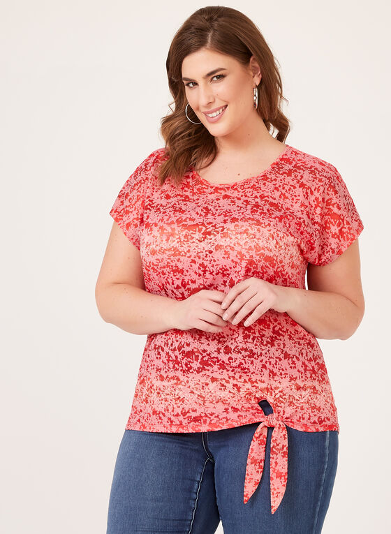 T-shirt délavé et détail nœud, Rouge, hi-res