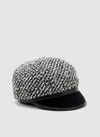 Two Tone Bouclé Hat, Black, hi-res