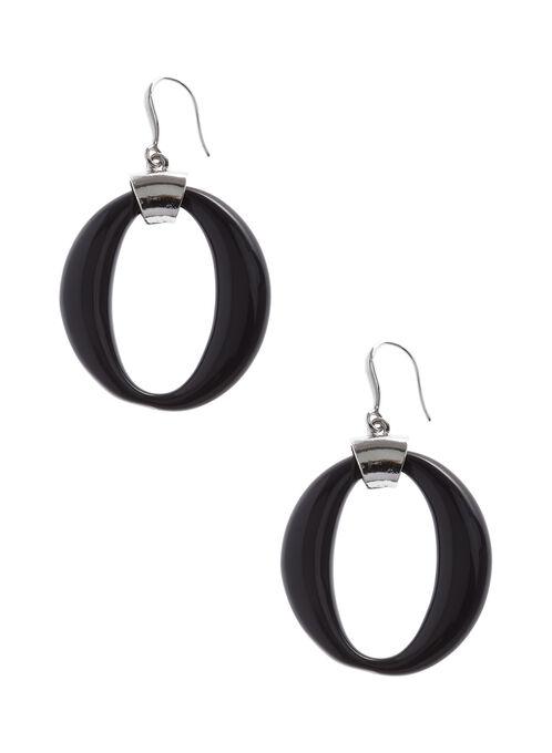 Boucles d'oreilles anneaux ovales, Bleu, hi-res