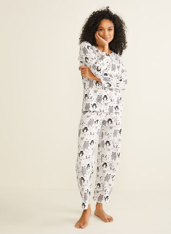 Bellina - Mixed Animal Print Pyjama Set, Black,  pyjama set, snowflake print, animal print, nightwear, pyjamas, v-neck, long sleeves, holiday, fall 2019, winter 2019