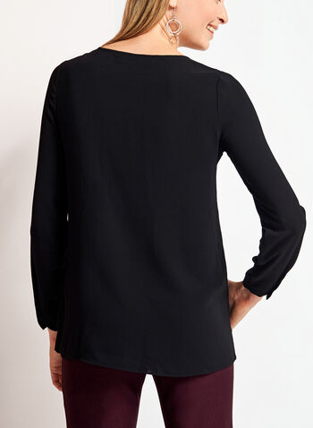 Long Sleeve Double Layer Chiffon Blouse, , hi-res