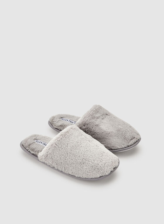 Ellen Tracy - Faux Fur Slippers, Grey, hi-res