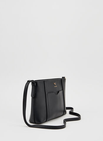 Faux Leather Crossbody Bag, Black, hi-res
