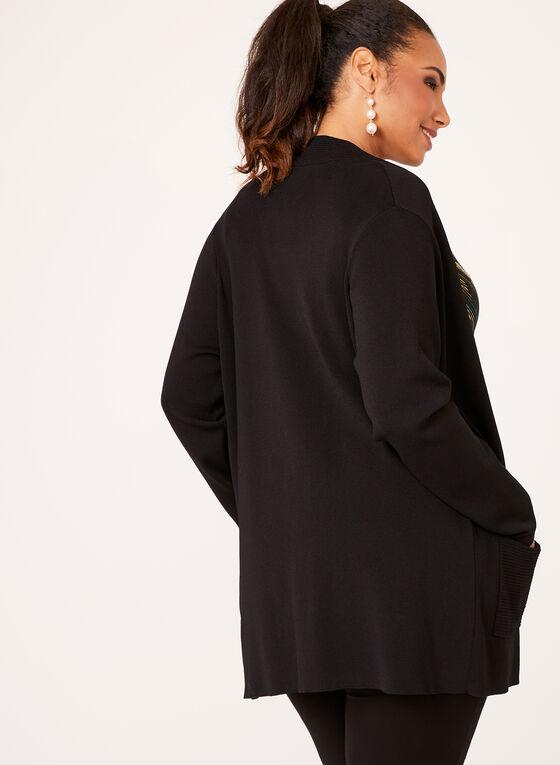 Cardigan ouvert en tricot ottoman, Noir, hi-res