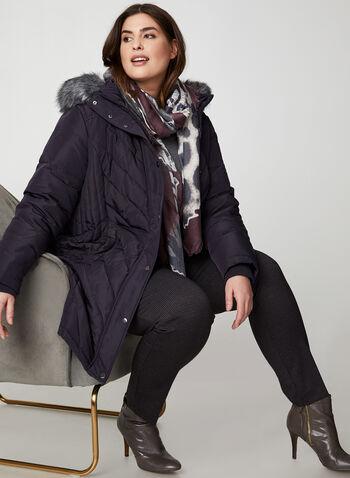 Faux Fur Down Coat, Purple,  plus petities, coat, winter coat, faux fur, faux fur coat, removable hood, hooded coat, quilt coat, chevron quilt, long coat,