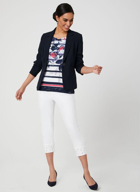 T-shirt à motifs et détail d'œillets lacés, Bleu