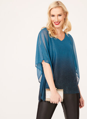 Cold Shoulder Glitter Poncho Blouse, Blue, hi-res