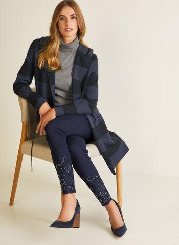 Stripe Print Hooded Cardigan, Blue,  cardigan, stripe print, long sleeves, drawstring, pockets, hood, fall winter 2020