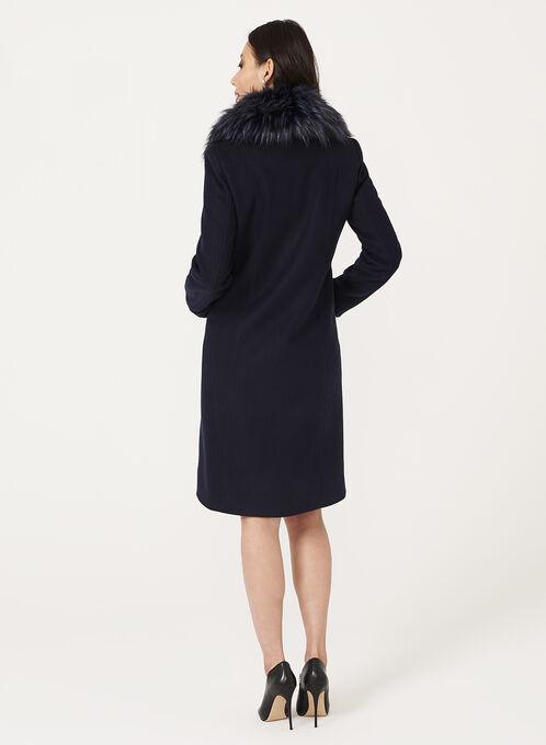 Manteau aspect laine et col en fausse fourrure , Bleu, hi-res